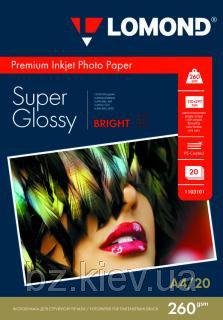 Суперглянцевая микропористая фотобумага для струйной печати, A4, 260 г/м2, 20 листов, код 1103101