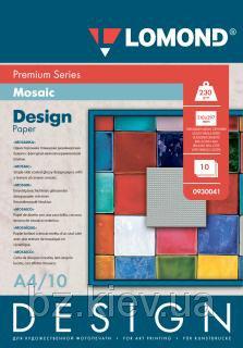 Односторонняя глянцевая дизайнерская фотобумага Мозаика, A4, 230 г/м.кв, 10 листов, код 930041