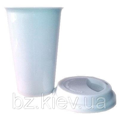 Керамическая термочашка для кофе в форме конуса с силиконовой крышкой, код GRW04.08.055/LCH