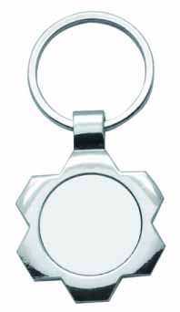 Брелок круг фигурный металлический в форме Цветок для сублимации, код GRW03.01.043/LCH