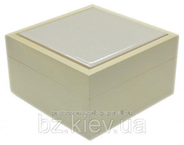 Шкатулка с белой плиткой из натурального дерева, код GRW16.01.016/UA