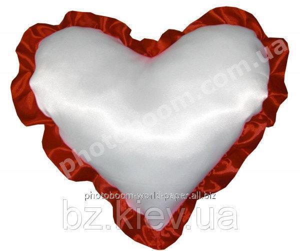 Наволочка в форме «Сердце» для сублимации, с бордовой каймой, код PLW04.00.010/UA