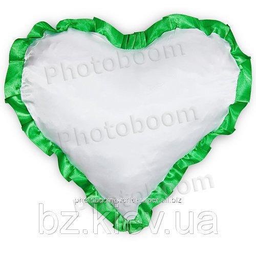 Наволочка в форме «Сердце» для сублимации, с зеленой каймой, код PLW04.00.011/UA