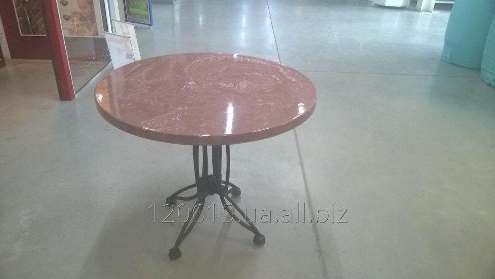 Стол круглый для сада, кафе из мармарита на чугунной опоре