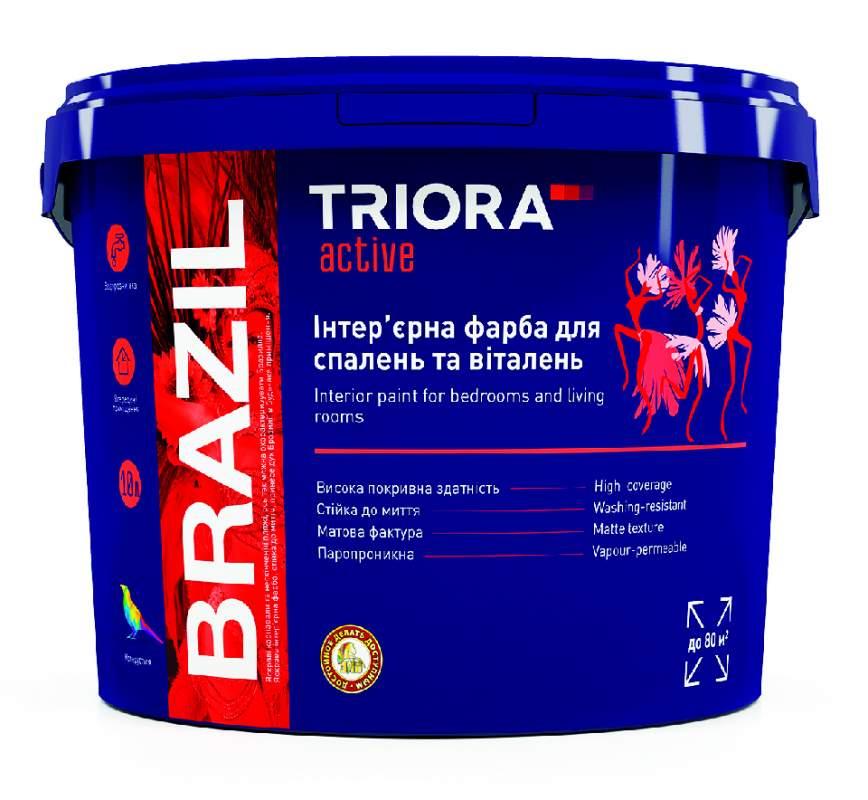 Интерьерная краска для спален и гостиных BRAZIL TM TRIORA active 1 л арт.3496