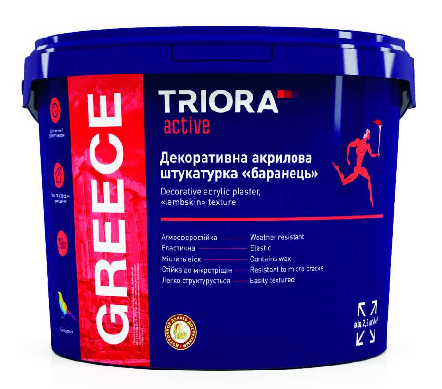 Декоративная акриловая штукатурка барашек GREECE TM TRIORA active 20 кг арт.3516