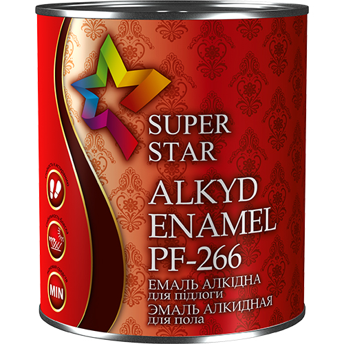 Эмаль для окраски полов алкидная ПФ-266 ТМ Super Star, 0,9 кг арт.2740 красно-коричневый