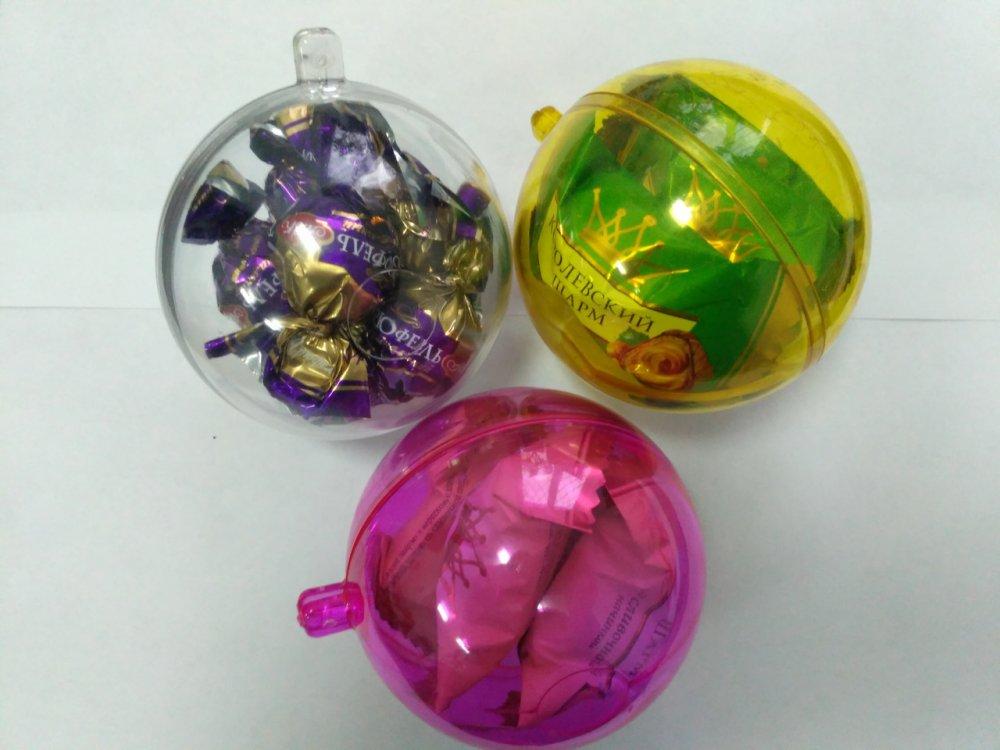 Купить Новогодний прозрачный разъемный шар для конфет