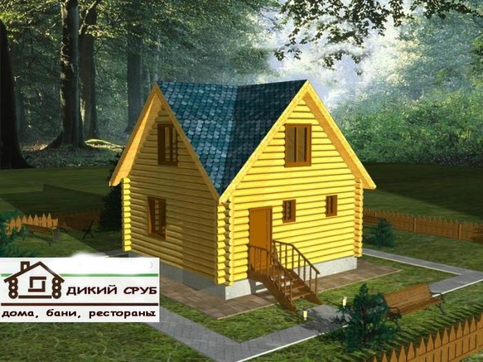 Дом из дикого сруба  площадью 55 м2