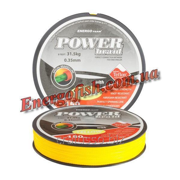 Шнур ET Power Braid Teflon 0,30мм 150m 24,60кг желтый