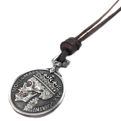 Купить Кулон Пиратская Испанская монета череп + шнурок Из Натуральной Кожи