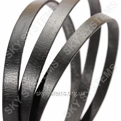 Плоский кожаный шнур   10,0 x 2,0 мм, Цвет: Черный