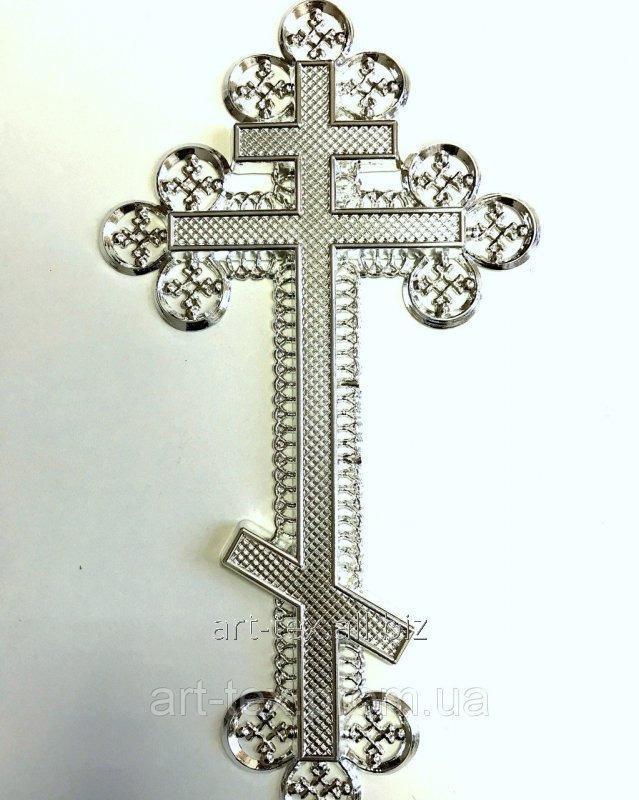 """Крест """"Ажурный"""" без распятия- металлизация серебро"""