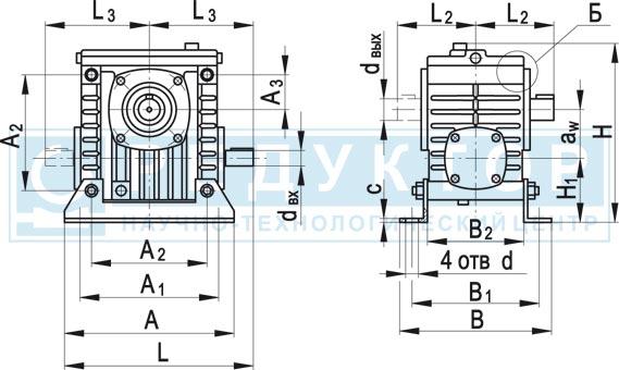 Червячный редуктор 2Ч-40М, 2Ч-63М, 2Ч-80М с опорными лапами