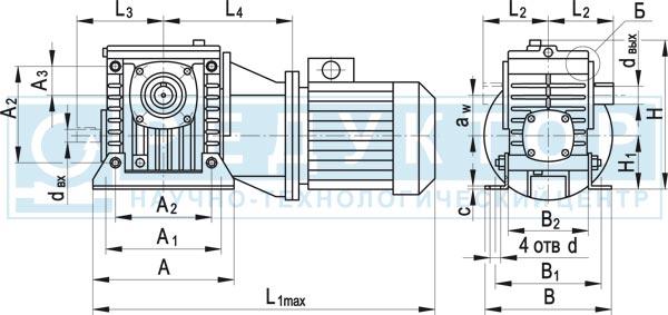 Червячный мотор-редуктор МЧ-40М, МЧ-63М, МЧ-80М с опорными лапами