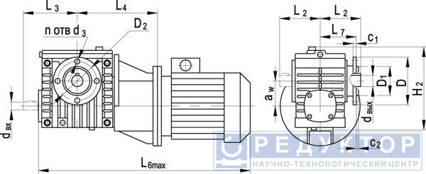 Червячный мотор-редуктор МЧФ-40М, МЧФ-63М, МЧФ-80М с опорным фланцем