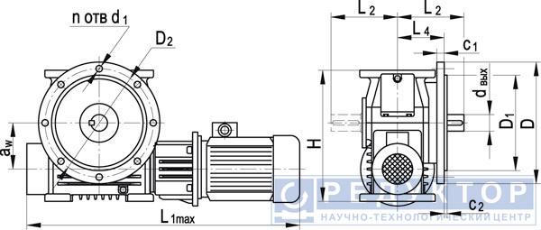 Червячный мотор-редуктор МЧФ-200М, МЧФ-250М, МЧФ-320М, МЧФ-400М, МЧФ-500М с опорными фланцем