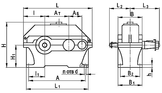 Редуктор цилиндрический горизонтальный двухступенчатый типа 1Ц2У, 1Ц2У-М
