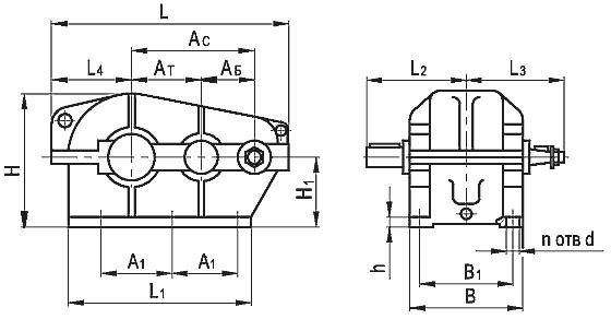 Редуктор цилиндрический горизонтальный крановый двухступенчатый типа Ц2, Ц2-М