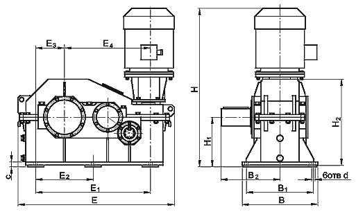 Мотор-редуктор червячно-цилиндрический типа ЧЦ2, МЧЦ2