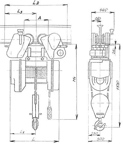 Таль электрическая канатная передвижная 5 т ТЭ-500