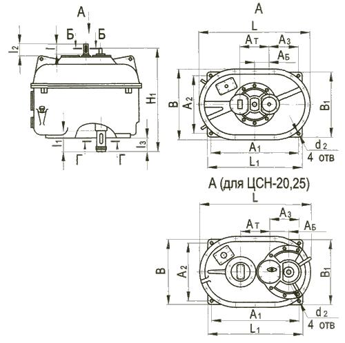 Редуктор цилиндрический специальный трехступенчатый типа ЦСН, ЦСН-М