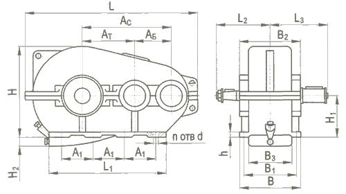 Редуктор цилиндрический горизонтальный трехступенчатый типа РК, РК-М