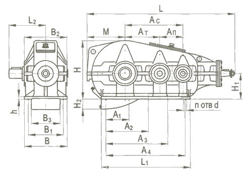 Редуктор вертикальный крановой трехступенчатый типа КЦ2, КЦ2-М