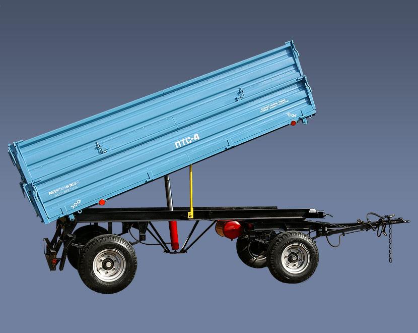 Купить Прицеп тракторный ПТС-4-02, грузоподъемностью 4000 кг, для перевозки различных грузов. Объем кузова 8 куб. м. Тягачи: трактора МТЗ-80/82, ЮМЗ-6Л/6М, Т-50/50А