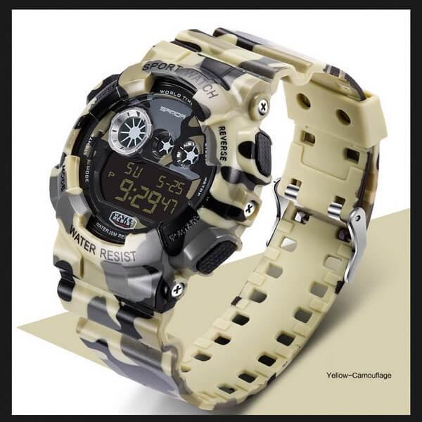 Часы Sanda Water Resistant 30 m с секундомером желтые TGTW-04-yellow