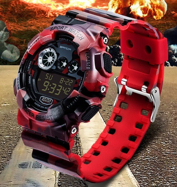 Buy Hours sports Sanda WR30 m with a stop watch red TGTW-04-red