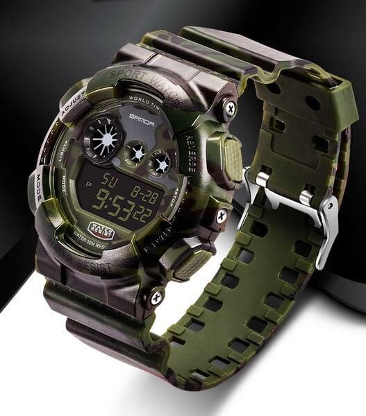 Часы Sanda Water Resistant 30 m с секундомером вудленд TGTW-04-olive