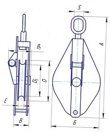 Блок монтажный однорольный со звеном грузоподъемностью 1т