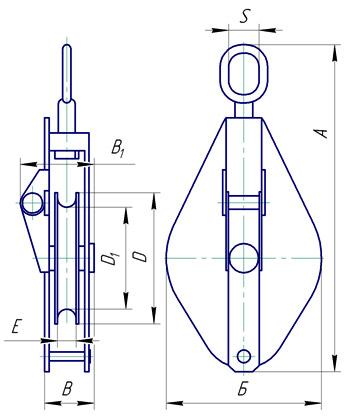 Блок монтажный однорольный со звеном грузоподъемностью 2т