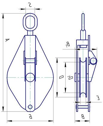 Блок монтажный однорольный со звеном грузоподъемностью 3,2т