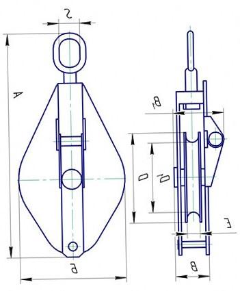 Блок монтажный однорольный со звеном грузоподъемностью 5т