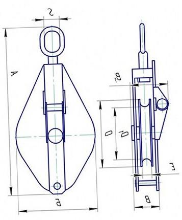 Блок монтажный однорольный со звеном грузоподъемностью 10т
