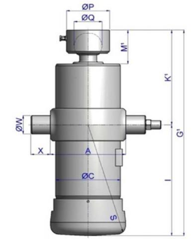Гидроцилиндр 5-ти штоковый, подкузовной для трехсторонней разгрузки UМB 129-5-2480-K192