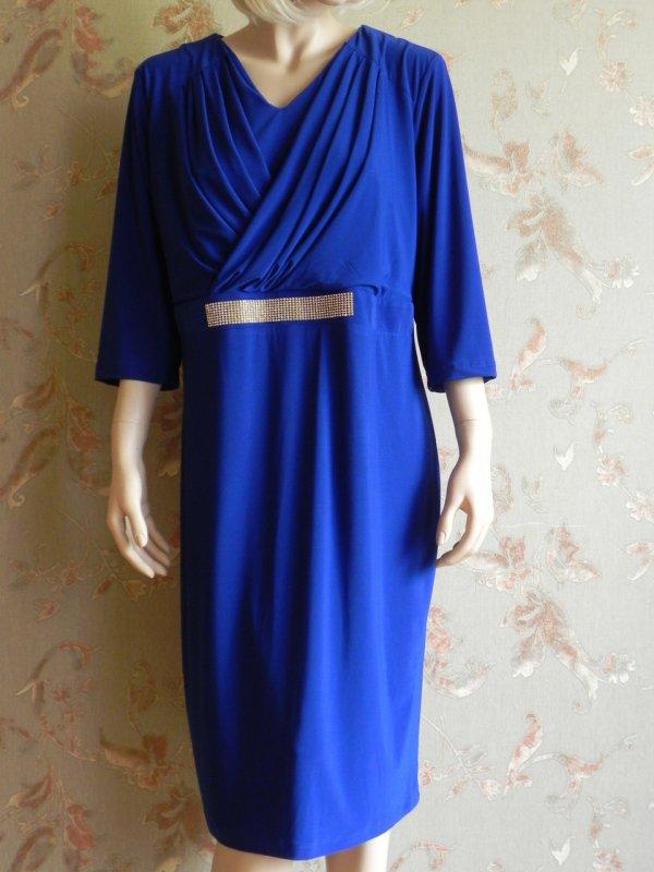 Платье синее за колено с стразами, арт. N3977