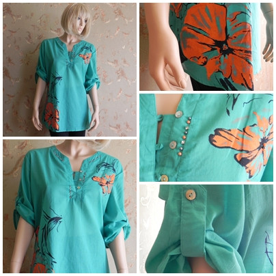Shirt women's with a flower print and beads of N4057