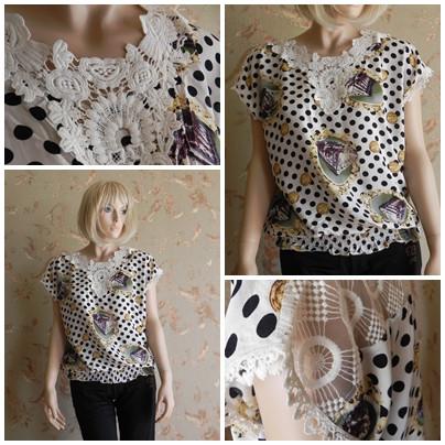 Блузка в горошек с кружевами короткий рукав, арт. N4193