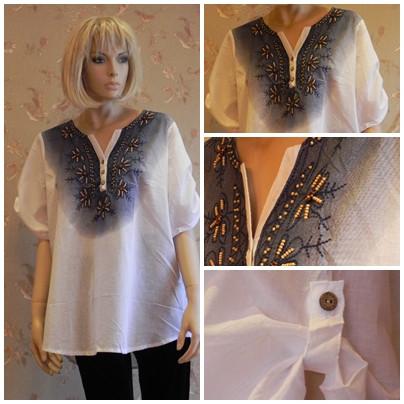 Рубашка белая с цветочным принтом и бисером, арт. N4165