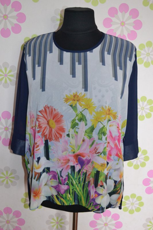 Блуза с цветочным принтом и полосочками, арт. C_1698