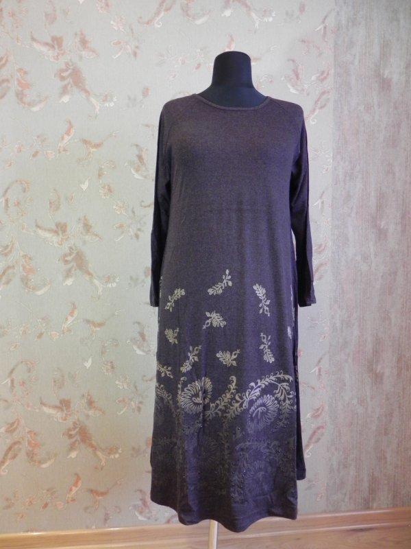 Платье трикотажное коричневое, арт: 5028