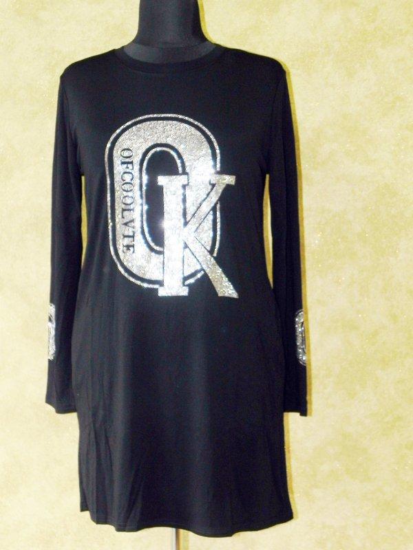 Платье-туника трикотажное с стразами, арт: 5864