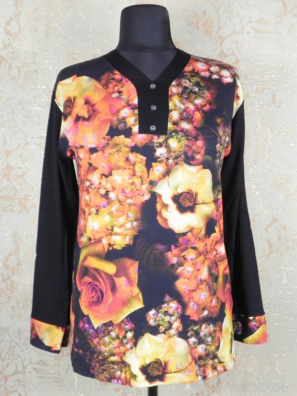Кофта женская черная с розами, арт. 6056
