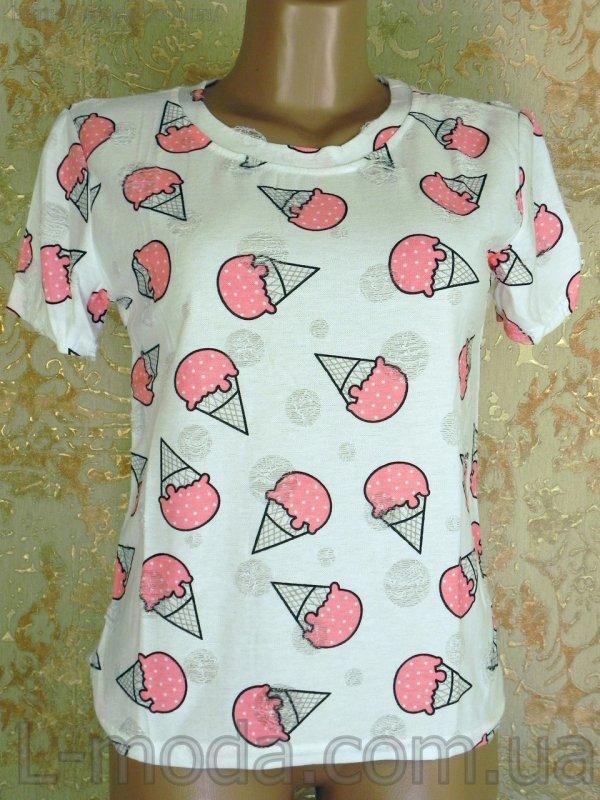 Футболка женская мороженое розовое, арт. 6267