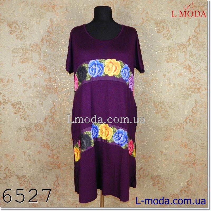 Платье с коротким рукавом полоса из цветов, арт. 033-4568