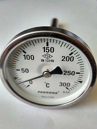 """Термометр  0-300°, Ø63мм, с резьбой 1/2"""" биметаллический, осевой, PAKKENS"""