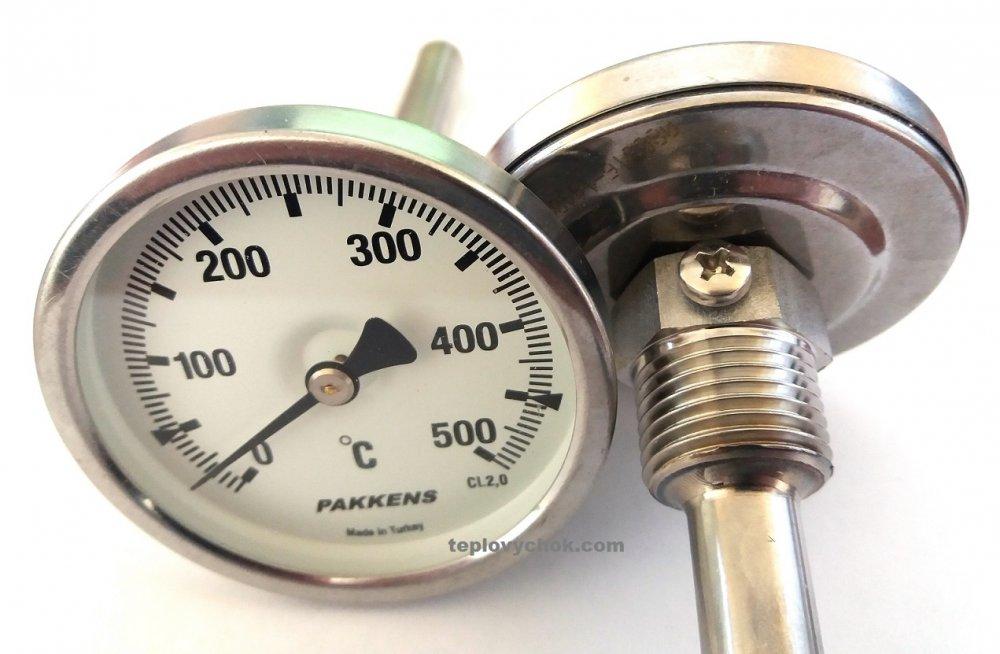 """Термометр  0-500°, Ø63мм, с резьбой 1/2"""" биметаллический, осевой, PAKKENS"""